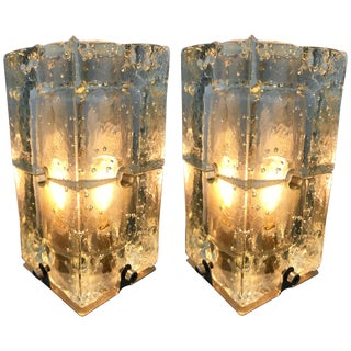Pair of Glass Lamps by Poliarte, Italy, 1970s For Sale