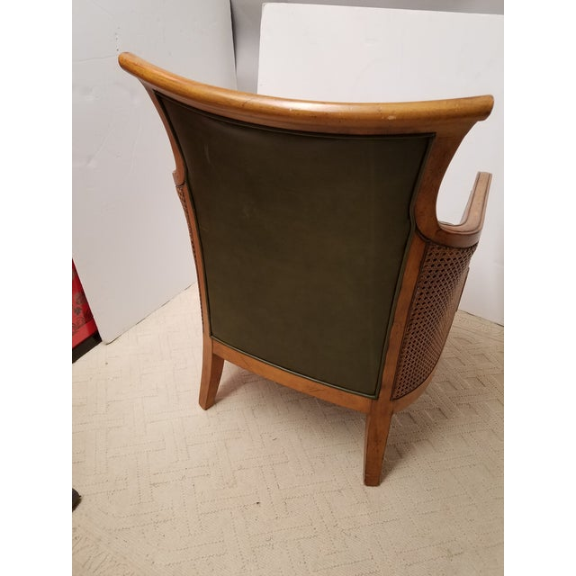 Neoclassical Style Olive Green Leather and Cane Fruitwood Armchair by Lexington Furniture - Image 5 of 7