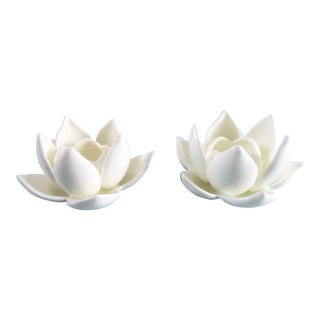 Asian Modern White Lotus Flower Candle Holder - a Pair