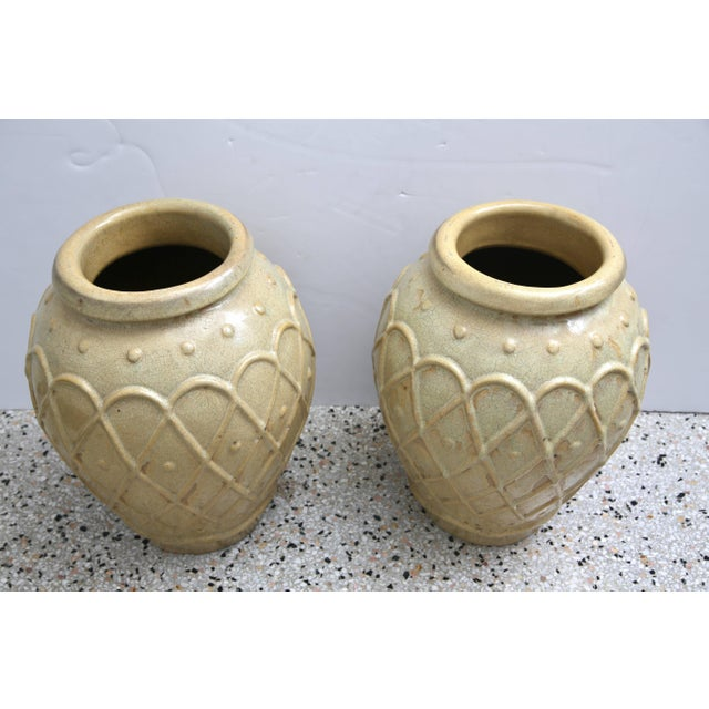 This stylish pair of American Art Deco era glazed pottery urns were created by the Galloway Pottery workroom based in...