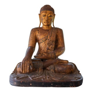 Mid-1800's Burmese Buddha Statue in Teak For Sale