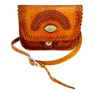 1970s Tooled Leather Cross Body With Sterling Silver Concho Detail For Sale