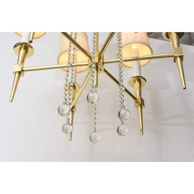 Hollywood Regency Polished Brass and Glass Beaded Chandelier by Tommi Parzinger For Sale - Image 3 of 10
