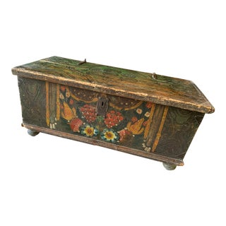 19th Century Antique Folk Art Hand Painted Blanket Chest For Sale