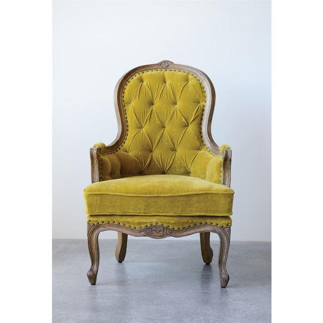 French Style Chartreuse Velvet Classic Armchair For Sale - Image 4 of 5