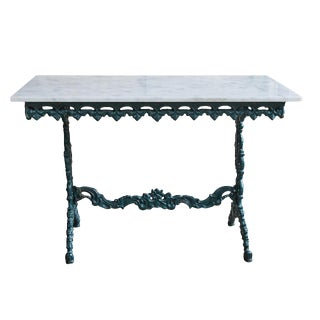 French Cast Iron and Marble Table For Sale