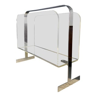 Chrome and Lucite Magazine Rack in the Style of Milo Baughman For Sale