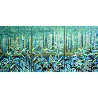 """Forest Glade"" Large Triptych Painting by Geoff Greene For Sale"