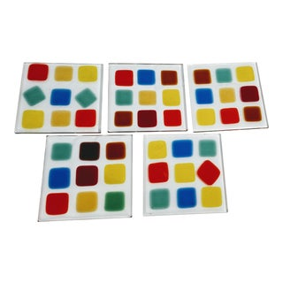 Modern Artist Signed Square Fused Glass Coasters D- Set of 5 For Sale