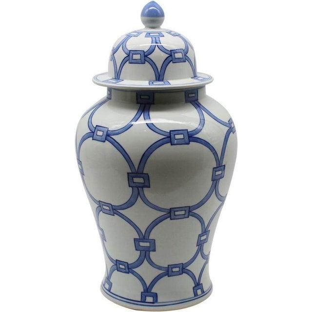 Blue & White Porcelain Lover Locks Temple Jar For Sale - Image 13 of 13