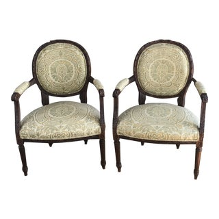 Early 20th Century Antique Louis XVI Style Fauteuil Chairs - A Pair