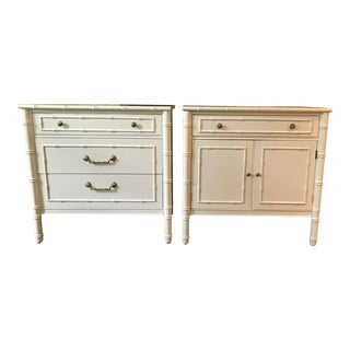 1970s Mid-Century Modern Thomasville Allegro White Lacquer Bamboo Nightstands - a Pair