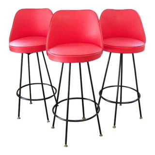 Vintage Mid Century Red Bar Stools - Set of 3 For Sale
