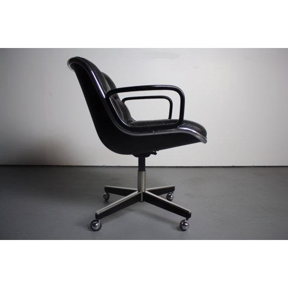 Knoll Black Vinyl Office Chair - Image 4 of 5