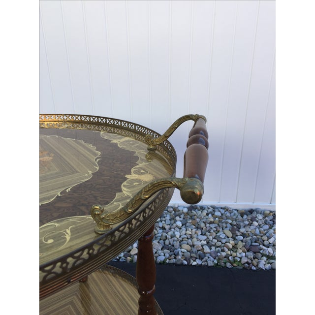Vintage Sorrento Italian Lacquered Marquetry Bar Cart - Image 8 of 8