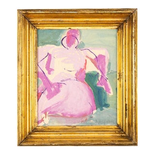 """Jd Naraine """"Repose in Purple and Green"""" Painting, Framed For Sale"""