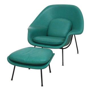 Vintage Leather Saarinen Womb Chair & Ottoman
