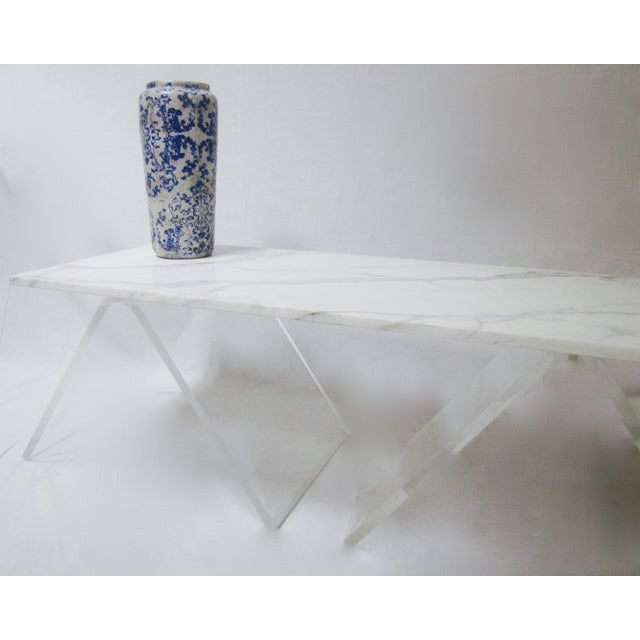 Lucite Base Coffee Table with Marble Top - Image 10 of 11