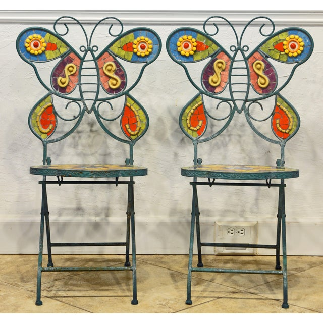 These uniquely artful butterfly chairs with inlaid colorful ceramic mosaic on seats and backs have been used outdoors but...