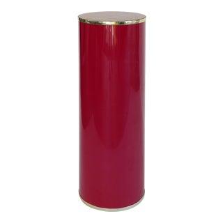 Tall Vintage Lipstick Red Pedestal W/ Gold Trim For Sale