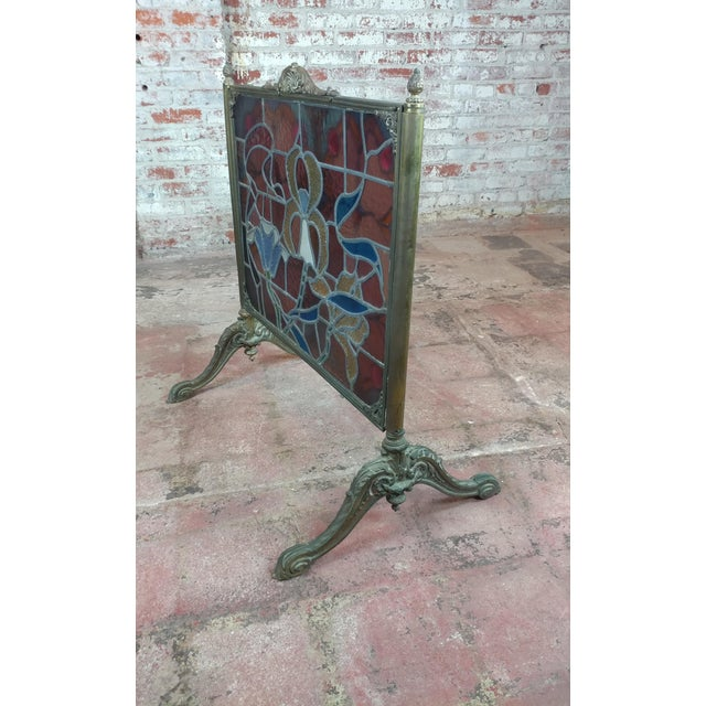 Gorgeous Art Nouveau Bronze & Stained Glass Fireplace screen For Sale - Image 9 of 12