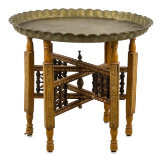 Moroccan Bronze Tray Table With Folding Wood Stand For Sale
