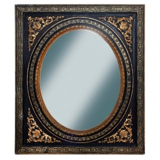 19th Century Antique Empire Ebony & Gold Framed Mirror For Sale