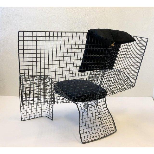 "A rare Italian Postmodern steel mesh ""Volare Chair"" designed D'Urbino Lomazzi and Mittermair for Zerodesigno in 1992. The..."