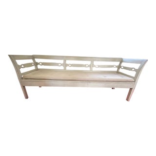 Antique White Long Swedish Settee For Sale