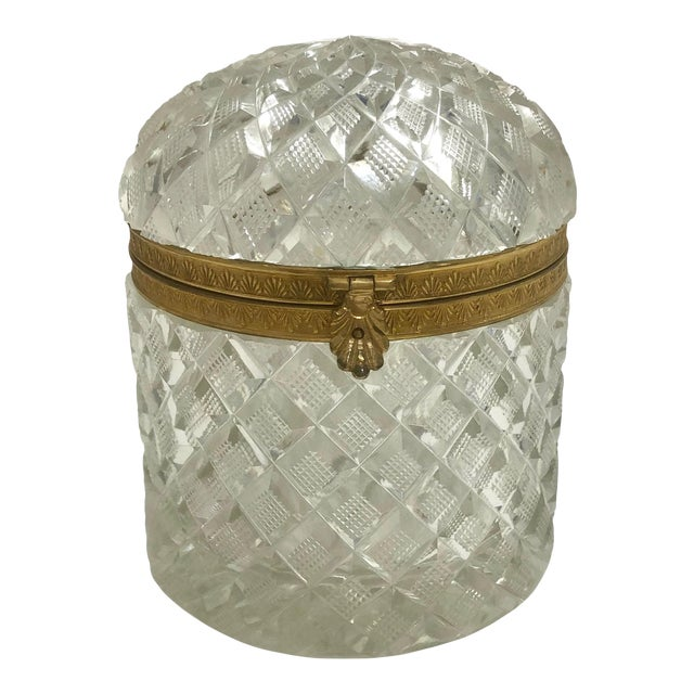 19th Century Large French Baccarat Crystal Box For Sale