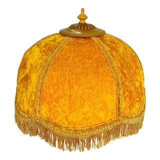 Vintage Hollywood Regency Crushed Velvet Yellow Lamp Shade With Fringe For Sale