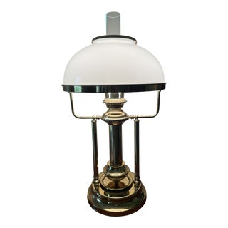 Vintage 1970s Ethan Allen Star of India Brass Globe Lamp Reproduction For Sale