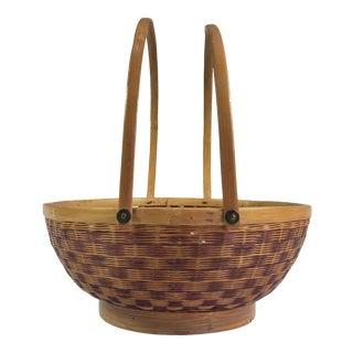 Mid-Century Japanese Split Bamboo Basket With Handles For Sale