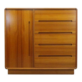 Mid Century Danish Modern Teak Gentleman's Chest Dresser For Sale
