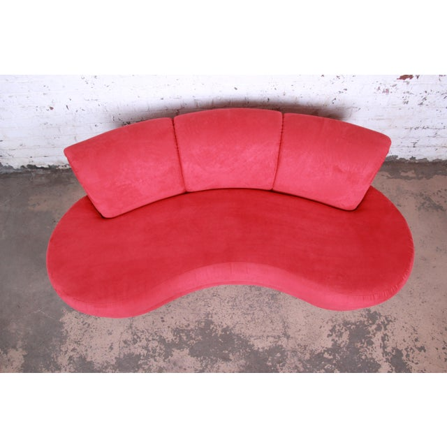 1980s Adrian Pearsall Curved Kidney Shape Red Sofa for Comfort Designs For Sale - Image 5 of 8