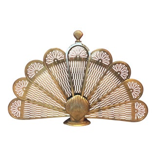 Vintage 1950s Brass Shell Fireplace Screen For Sale