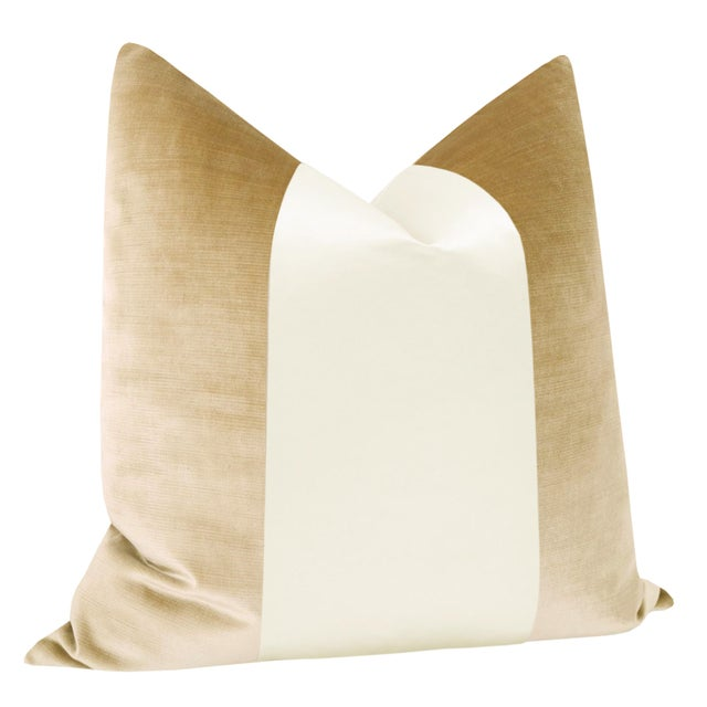 "Contemporary 22"" Champagne Velvet & Alabaster Silk Panel Pillows - a Pair For Sale - Image 3 of 5"