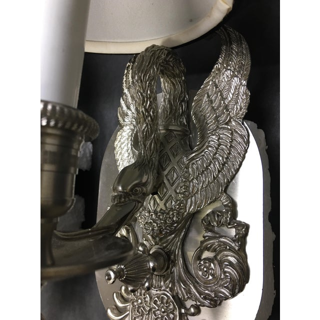 Art Nouveau Art Nouveau Pewter Swan Wall Sconces - a Pair For Sale - Image 3 of 7