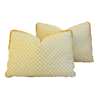Yellow & White Italian Mariano Fortuny Feather/Down Pillows - Pair