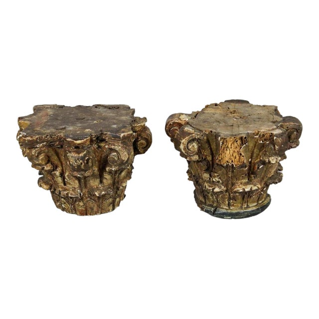 Late 19th Century Vintage Continental Corinthian Carved Parce-Gilt Wood Capitals- A Pair For Sale