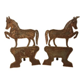 Vintage Hand Forged Horse Andirons - A Pair For Sale