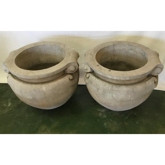Traditional 1970s Vintage Concrete Planters - a Pair For Sale - Image 3 of 13