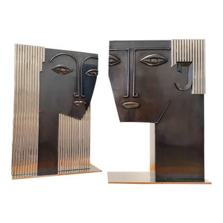 Art Deco Sculptural Man & Woman Face Vases - a Pair For Sale