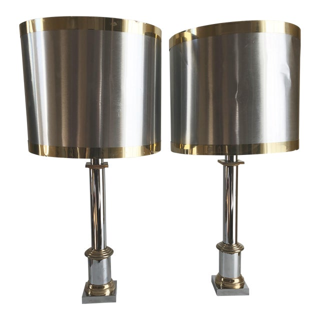 1970s Modernist Chrome & Brass Table Lamps - a Pair For Sale