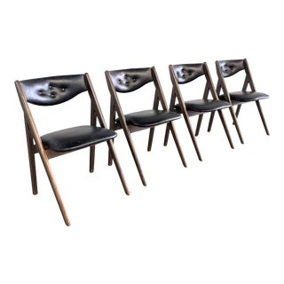 Mid Century Modern Foldable Dining Chairs by Stakmore- Set of 4 For Sale