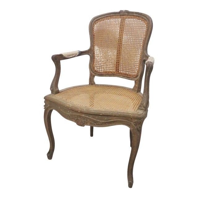 French Style Antique Caned Distressed Chair - Image 1 of 9