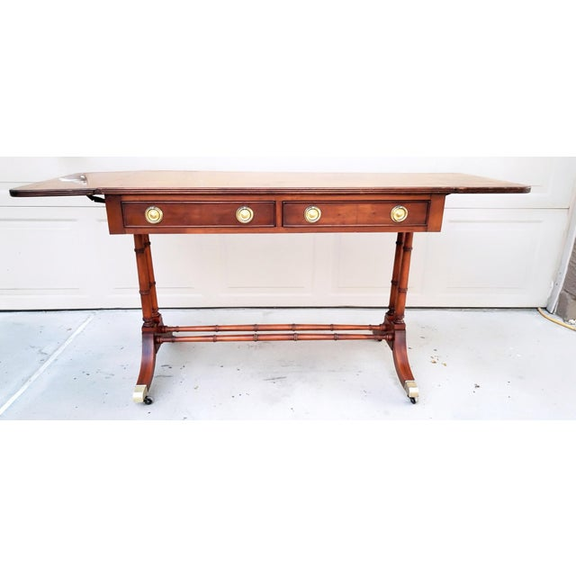 Baker Mid-Century Bamboo Drop-Leaf Table For Sale In Phoenix - Image 6 of 11