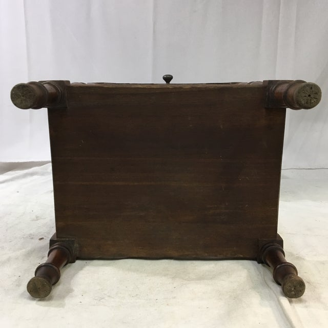 Antique Oak Copper-Lined Humidor Smoking Side Table For Sale - Image 10 of 12