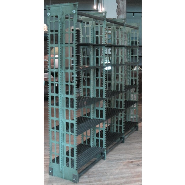 Pair of Antique Cast Iron Archival Library Bookcases by Snead For Sale - Image 4 of 10