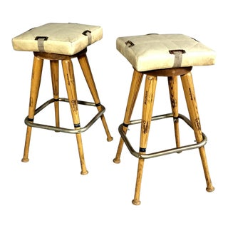 "Pair 1980s Baseball Bat 31.5"" Stools, Vintage Plate Seats For Sale"